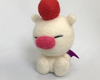 "Moogle. 3"" high x 2"" wide, 100% handmade needle felted character."