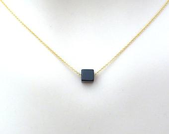 onyx necklace matching onyx necklace raw onyx untreated onyx necklace Square onyx necklace black onyx necklace unique onyx necklace