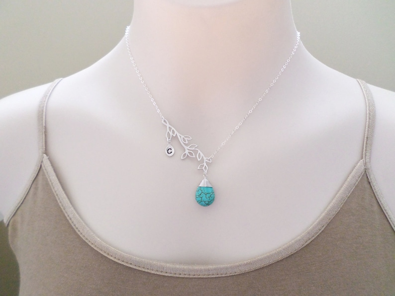 Chain Lovers Necklace Branch Stone friends Jewelry Turquoise Silver Personalized Sterling silver Gift Initial 0-3 Accessory