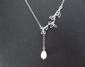 Beautiful, White, Pearl, Sideways, Tree, Gold, Silver, Necklace, Branch, Lariat, Modern, Lovers, Best friends, Sister, Gift, Jewelry