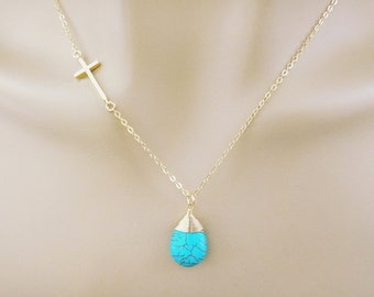 Sideways, Cross, Turquoise, Stone, Gold, Necklace, Lovers, Best friends, Wedding, Mom, Sister, Gift, Accessory, Jewelry