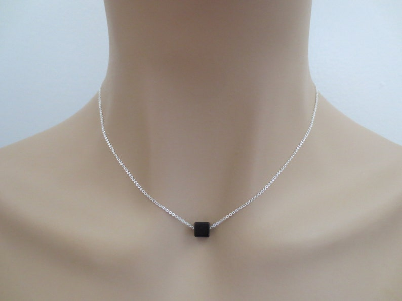 Square Sister Best friends Gift Necklace Silver Lovers 3D Mom Accessory Gold Cube Jewelry Onyx Black