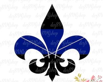 Fleur-de-lis Thin Blue Line SVG | Thin blue line | Law Enforcement Support | Cut File | SVG DXF | svg files for Cricut