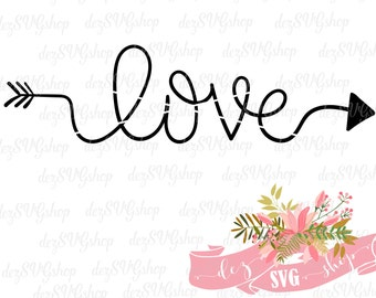 Love with arrow SVG hand lettered| love cut file | love DXF file | svg files for Cricut and Silhouette | thankful stencil | thankful decal
