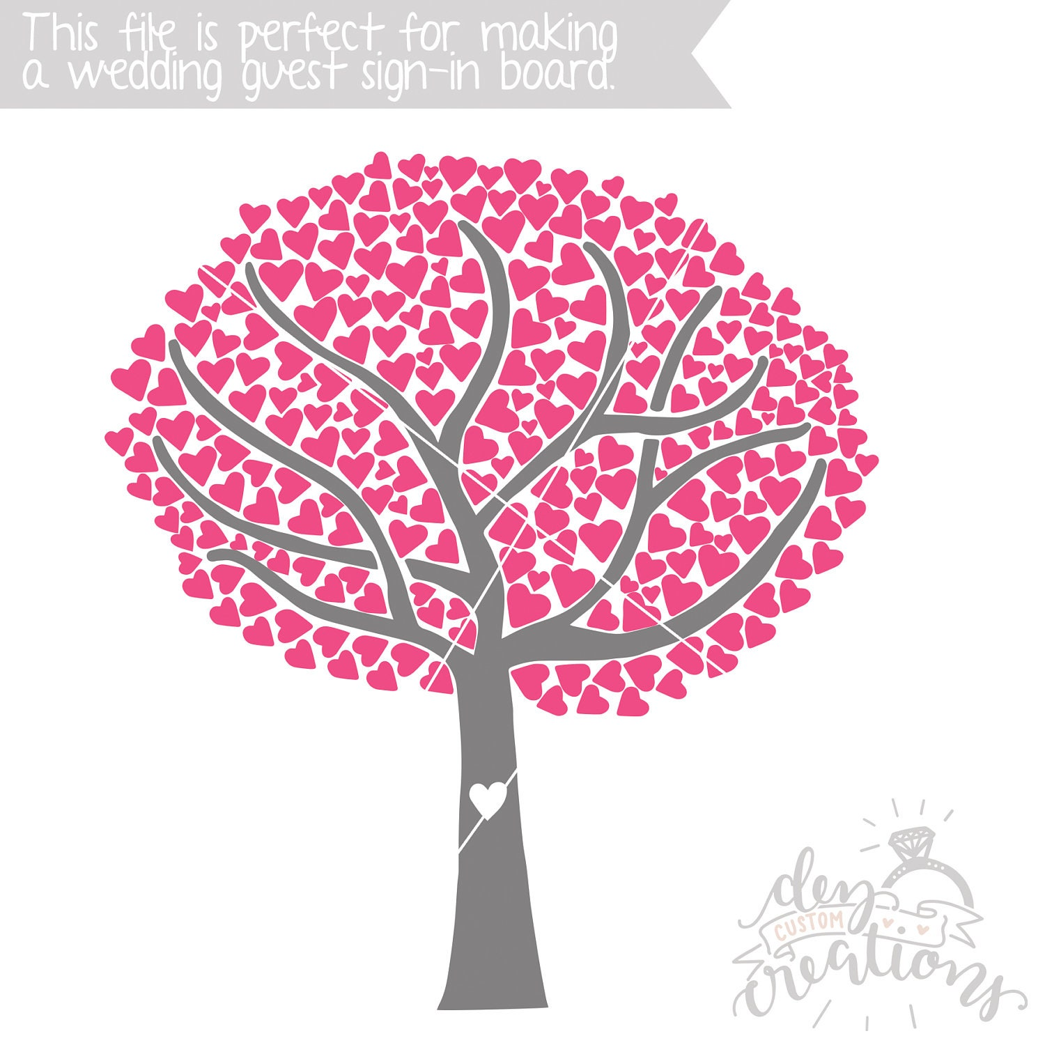 Tree SVG Tree with Heart Leaves Cut File Wedding Guest   Etsy