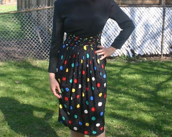 PRICE REDUCED! Silk Dress by St. Gillian Polka Dot 1980s Size Small