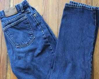 1990s Lauren Jeans Co. Ralph Lauren Dark Denim Mom Jeans Size 8