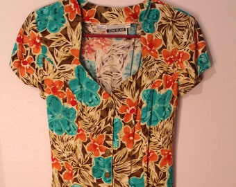 90s Rayon Floral Romper