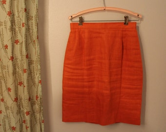 1970s 1980s Burnt Orange Linen Pencil Skirt Size Small PRICE REDUCED