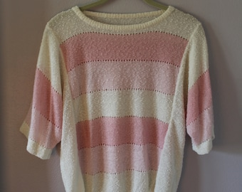 1980s Pink Gradient Ombre Open Knit Boucle Sweater Boxy Cut Free Size