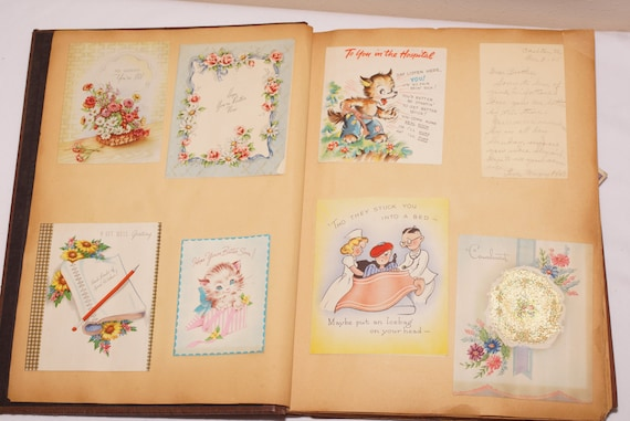 Vintage scrapbook 1940s scrapbook paper ephemera greeting card vintage scrapbook 1940s scrapbook paper ephemera greeting card album 133 cards get well sympathy cards and personal letters from m4hsunfo