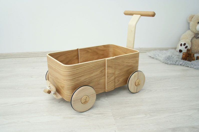 Toddler Walker Wagon Wooden Toy Box