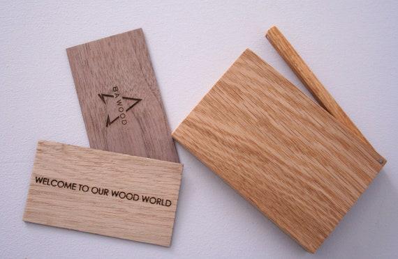 Individuelle Gravur Eiche Holz Visitenkarten Etui