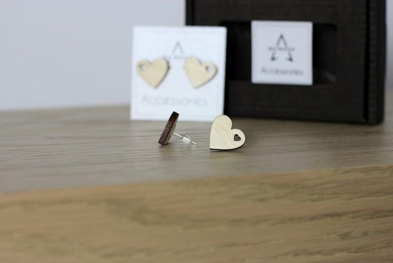 Wooden Heart Earrings.