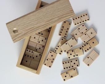Wooden Dominoes. Domino set.