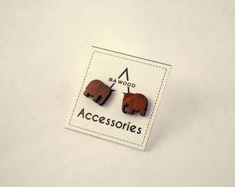 Tiny Elephant earrings. Wooden stud earrings. Wood earrings.