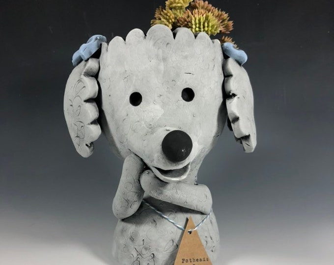 Pebbles the Poodle  Ceramic Planter // Adorable Poodle Pothead