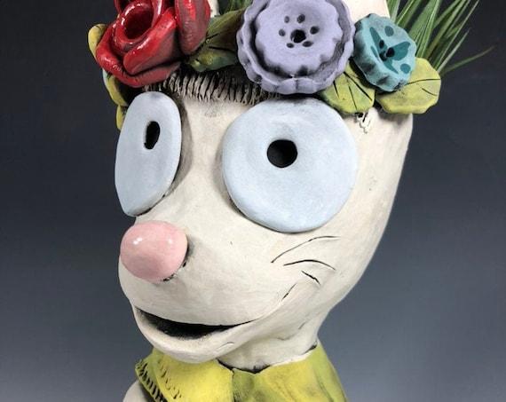 Frida Kahlo Cat Succulent Planter // Frida Katlo Ceramic Pothead
