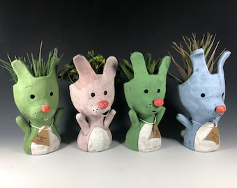Bunny Pothead Peeps Ceramic Planter // Adorable Bunny Rabbit Potheads