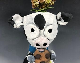 Cookie Dairy Cow Succulent Planter // Ceramic Cow Pot