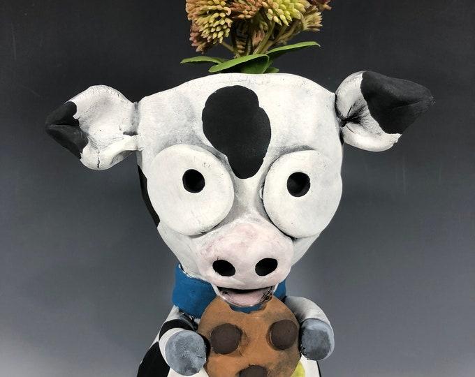 Featured listing image: Cookie Dairy Cow Succulent Planter // Ceramic Cow Pot