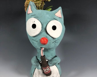 Adorable Soda Pop Kitty Planter // Kitten // Pothead // Succulent Pot // Animal Planter // Small Sculpture // Pottery // Ceramics // Blue