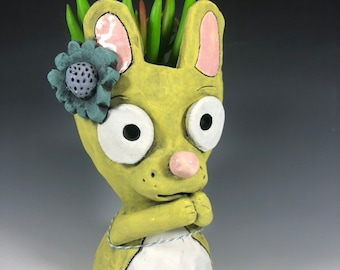 Little Yellow Bunny Succulent Planter // Ceramic Bunny Pothead
