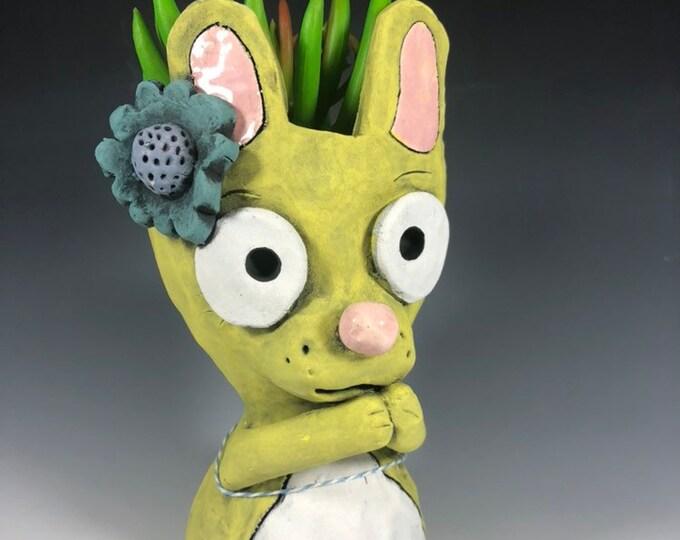Little Yellow Bunny Succulent Planter // Ceramic Bunny Pothead