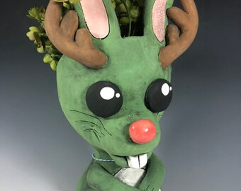 Little Jackalope Ceramic Planter // Adorable Jackalope Pothead
