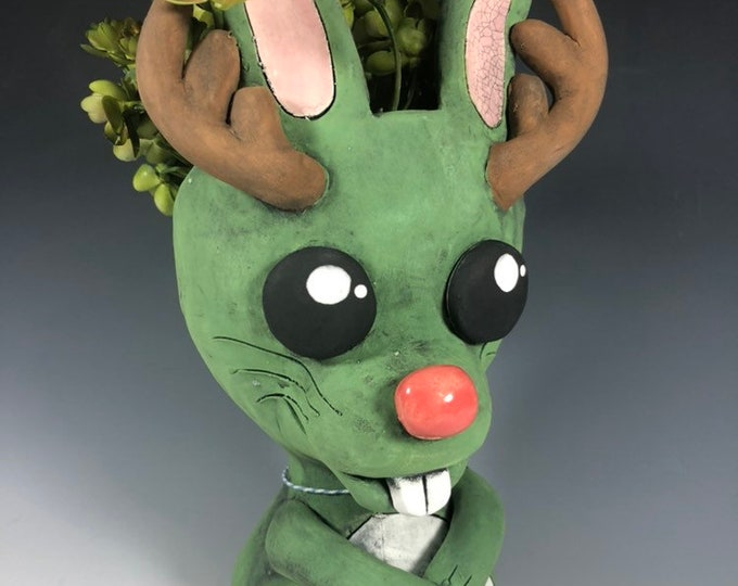 Little Jackalope Ceramic Planter // Adorable Jackalope Pothead