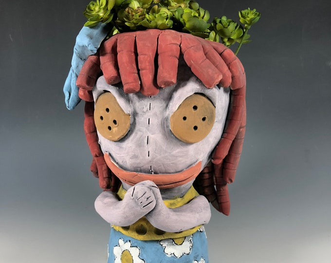 Featured listing image: Arabelle the Doll // Scary Doll // Spooky // Cloth and Button // Succulent Pot // Planter // Ceramic // Small Sculpture // Pottery // Boo