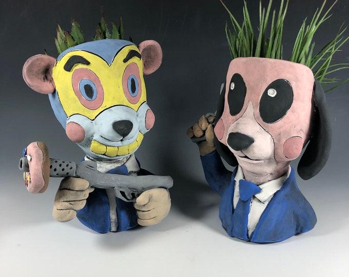 Cha Cha and Hazel Potheads // Umbrella Academy Ceramic Planters