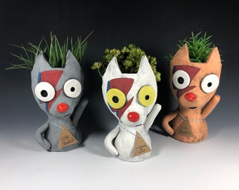 Kitty Stardust Succulent Planter // Adorable Rock n' Roll Cat Pothead