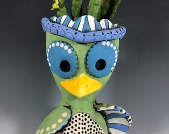 Andora the Owl // Succulent Planter // Pothead // Adorable Bird // Beautiful Owl // Unique // Home Decor // Pottery // Small Sculpture