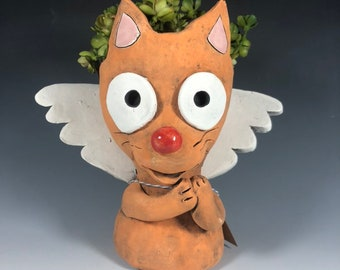 Angel Cat Ceramic Planter // Orange Cat Angel Succulent Pot