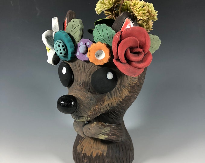 Featured listing image: Roscoe Doggy Flower Crown Succulent Planter // Adorable Dog Pot