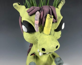 Undead Unicorn Succulent Planter // Zombie Unicorn Ceramic Pothead