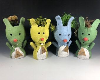 Easter Bunny Pothead // Ceramic Bunnies Planter