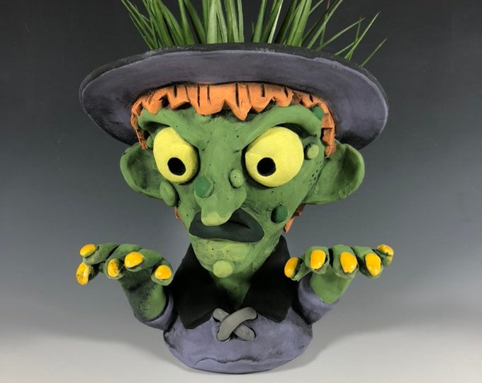 Featured listing image: Green Faced Witch // Spooky // Pothead // Planter // Succulent Pot // Halloween // Pottery // Small Sculpture // Witch // Creepy Fun