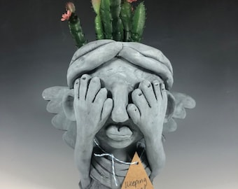 Weeping Angel Succulent Planter //  Dr. Who Inspired Ceramic Pothead