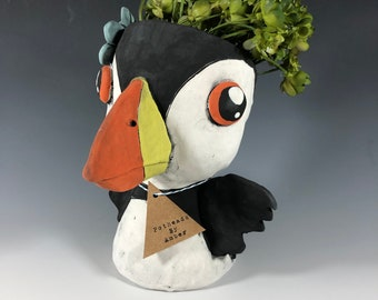 Adorable Puffin Succulent Planter //  Cute bird Ceramic Pothead