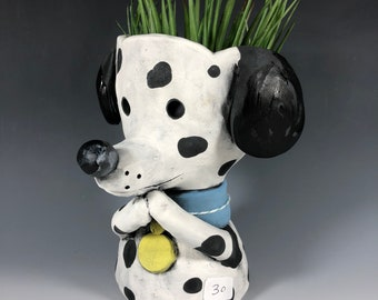 Domino // Dalmatian // Pup // Ceramic Pot // Succulent Planter // Small Sculpture // Adorable Dog // Puppy // Dog Lover // Gift for Her
