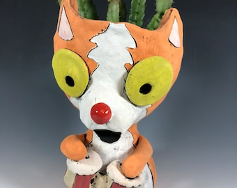 Cat Bongo Player // Drummer // Succulent Pot // Planter // Adorable // Unique // Handmade // Home Decor // Small Sculpture // Orange Cat