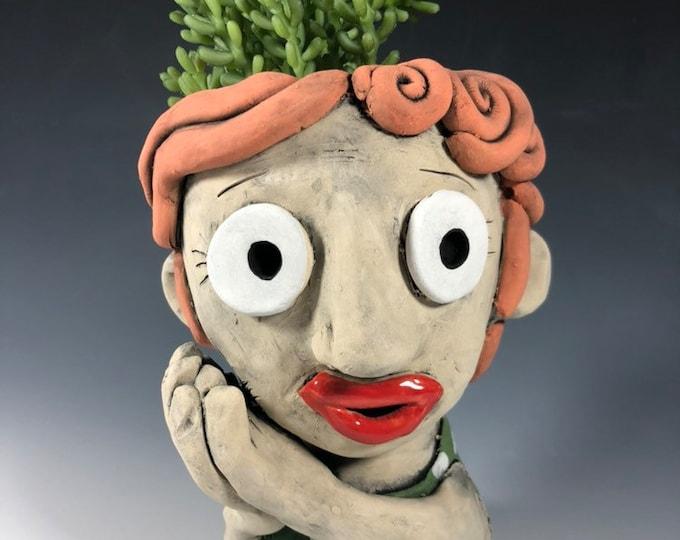 Ginger Ceramic Face Planter // Original Collection Pothead //  Red Headed Ceramic Planter