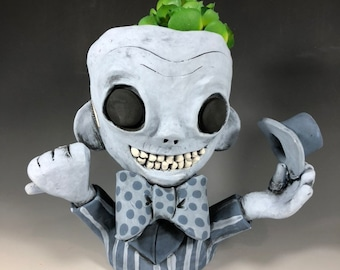 Ghost Phineus Succulent Planter // Ceramic Hitchhiking Ghost Pothead