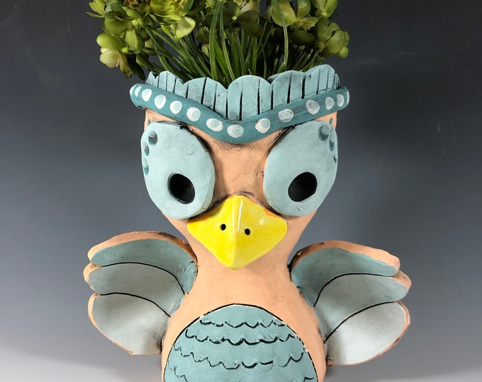 Curry the Little Owl Ceramic Planter // Orange Owl Succulent Pot