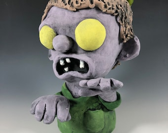 Reeker the Zombie // Undead // Ceramic Pot // Succulent Planter // Small Sculpture // Spooky // Scary // Pottery // Purple // Walking Dead