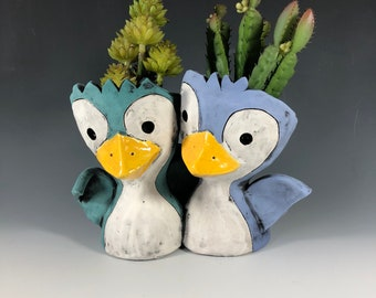 Penguin Friends // Double Succulent Pot // Planter // Adorable // Unique Small Sculpture // Baby // Ceramics // Office Home // Wedding Gift