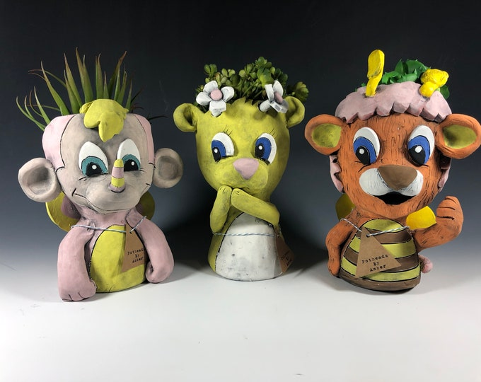 Wuzzles Children Cartoon Planters // Adorable Eighties Potheads