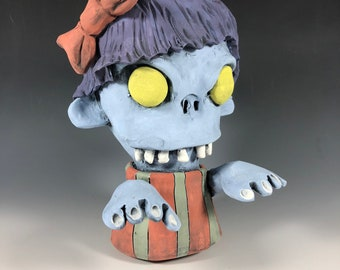 Zombie Judy // Succulent Pot // Undead // Walking Dead // Ceramic Planter // Small Sculpture // Pottery // Blue // Zombie Lovers // Gift